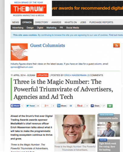 The Drum article - MediaMath - Three is the Magic Number: The Powerful Triumvirate of Advertisers, Agencies and Ad Tech