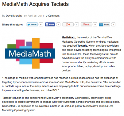 "Mobile Marketing ""MediaMath Acquires Tactads"""